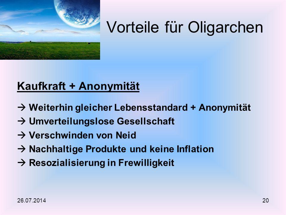 Kaufkraft + Anonymität  Weiterhin gleicher Lebensstandard + Anonymität  Umverteilungslose Gesellschaft  Verschwinden von Neid  Nachhaltige Produkt