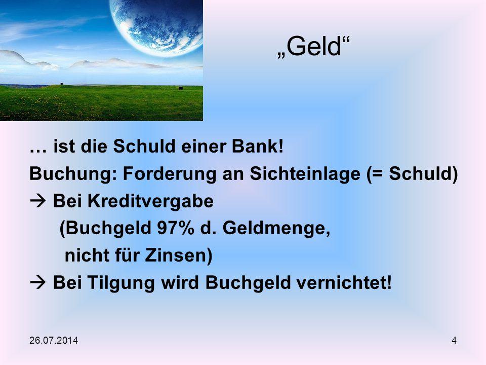 … ist die Schuld einer Bank! Buchung: Forderung an Sichteinlage (= Schuld)  Bei Kreditvergabe (Buchgeld 97% d. Geldmenge, nicht für Zinsen)  Bei Til