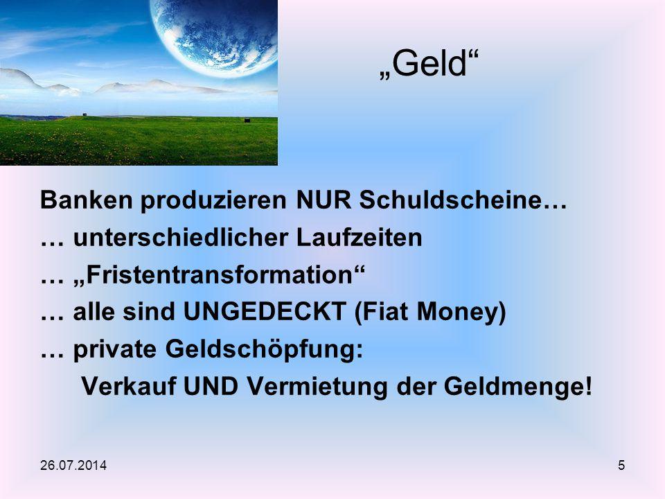 """Banken produzieren NUR Schuldscheine… … unterschiedlicher Laufzeiten … """"Fristentransformation"""" … alle sind UNGEDECKT (Fiat Money) … private Geldschöpf"""