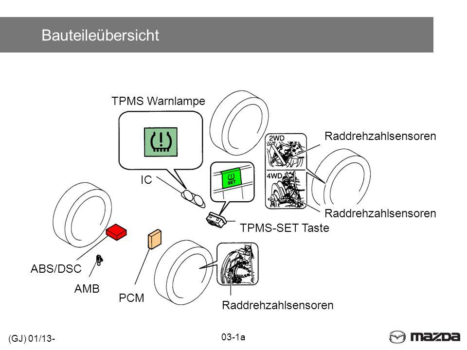 Bauteileübersicht Raddrehzahlsensoren TPMS Warnlampe Raddrehzahlsensoren TPMS-SET Taste PCM AMB ABS/DSC IC 03-1a (GJ) 01/13-