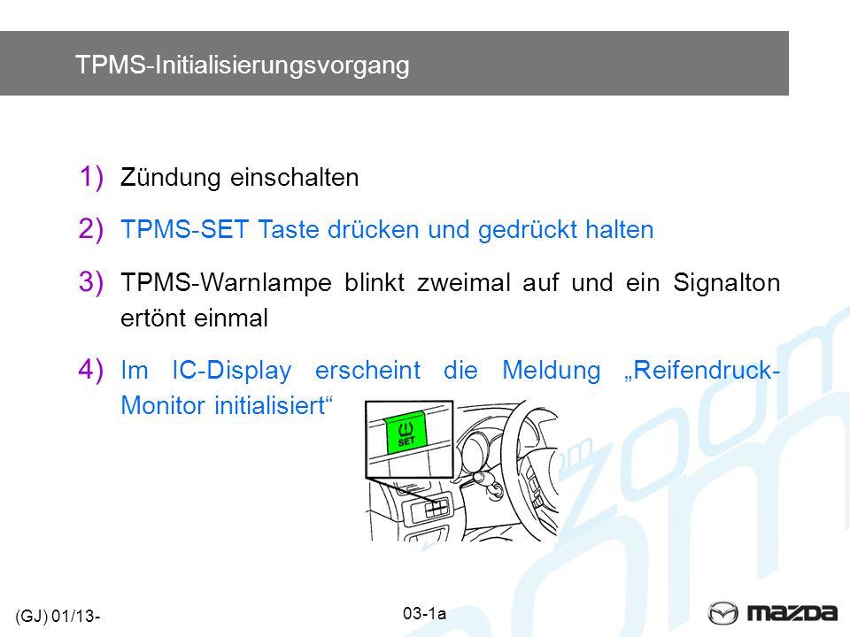 TPMS-Initialisierungsvorgang 1) Zündung einschalten 2) TPMS-SET Taste drücken und gedrückt halten 3) TPMS-Warnlampe blinkt zweimal auf und ein Signalt