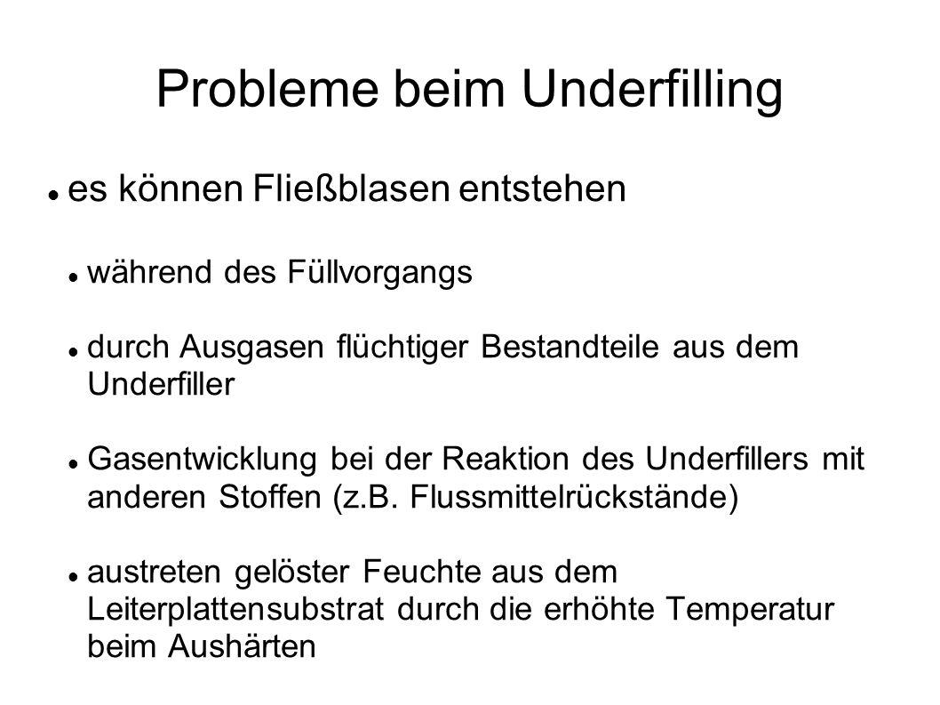 Probleme beim Underfilling es können Fließblasen entstehen während des Füllvorgangs durch Ausgasen flüchtiger Bestandteile aus dem Underfiller Gasentwicklung bei der Reaktion des Underfillers mit anderen Stoffen (z.B.
