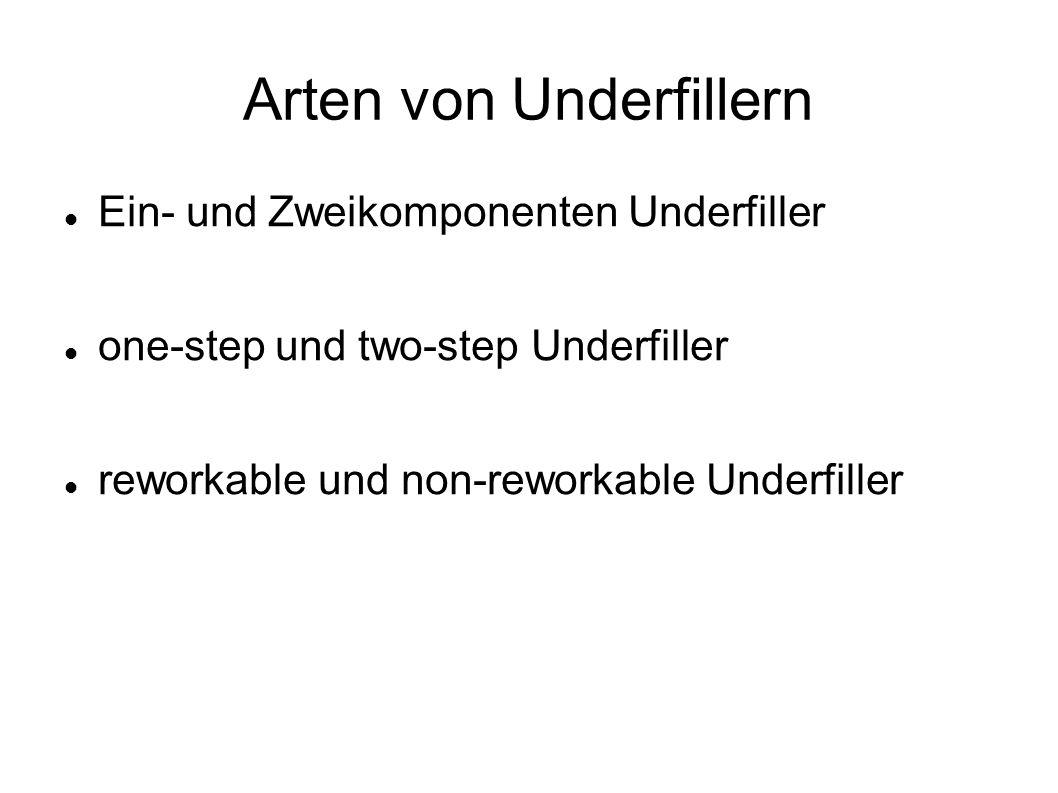 Arten von Underfillern Ein- und Zweikomponenten Underfiller one-step und two-step Underfiller reworkable und non-reworkable Underfiller