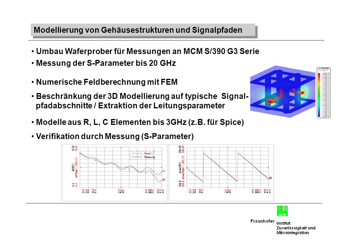 Modellierung von Gehäusestrukturen und Signalpfaden Umbau Waferprober für Messungen an MCM S/390 G3 Serie Messung der S-Parameter bis 20 GHz Numerisch
