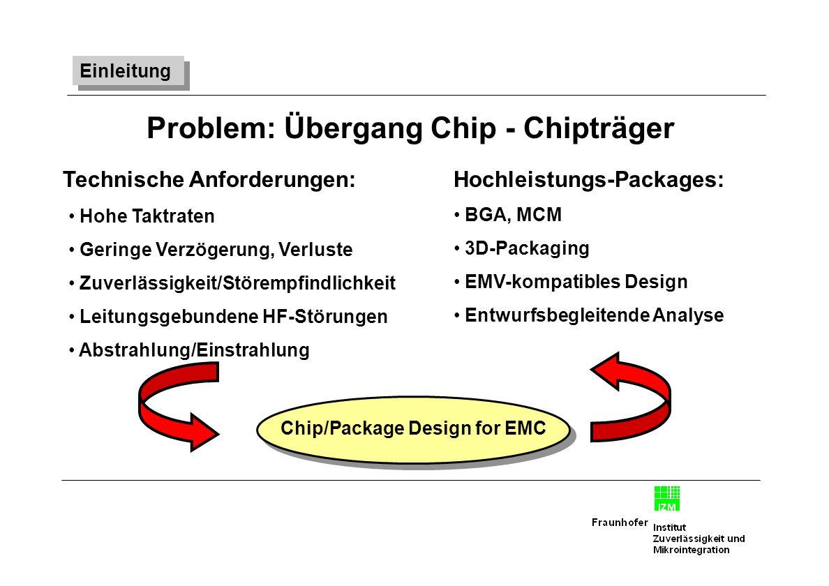 Problem: Übergang Chip - Chipträger Chip/Package Design for EMC Hochleistungs-Packages: BGA, MCM 3D-Packaging EMV-kompatibles Design Entwurfsbegleiten