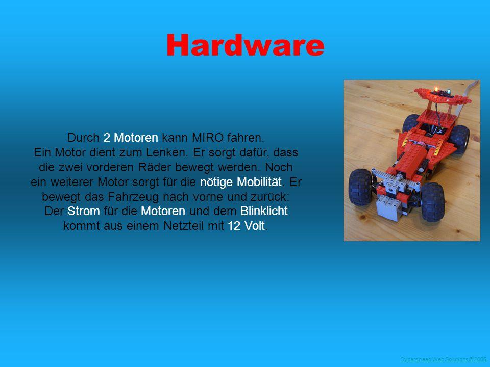 Cyberspeed Web SolutionsCyberspeed Web Solutions © 2005© 2005 Hardware Durch 2 Motoren kann MIRO fahren. Ein Motor dient zum Lenken. Er sorgt dafür, d