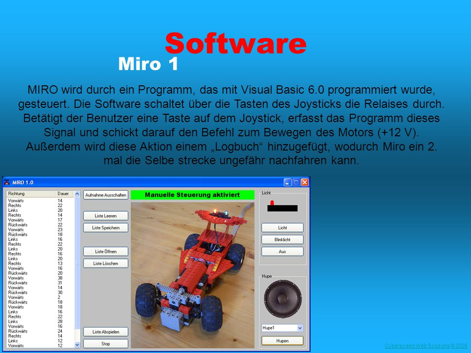 Cyberspeed Web SolutionsCyberspeed Web Solutions © 2005© 2005 Software MIRO wird durch ein Programm, das mit Visual Basic 6.0 programmiert wurde, gesteuert.