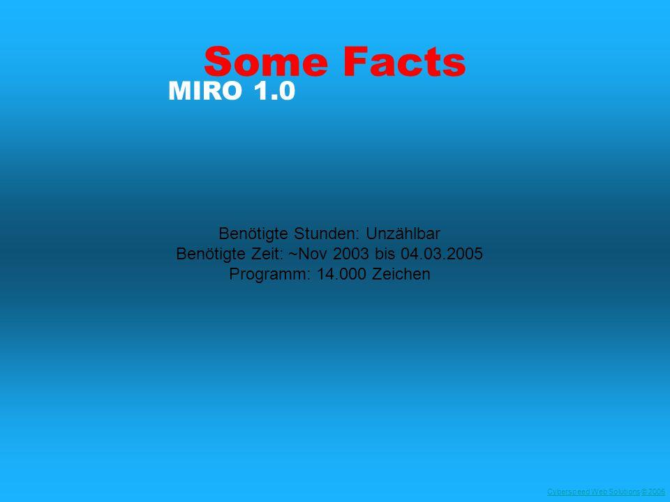 Cyberspeed Web SolutionsCyberspeed Web Solutions © 2005© 2005 Some Facts Benötigte Stunden: Unzählbar Benötigte Zeit: ~Nov 2003 bis 04.03.2005 Programm: 14.000 Zeichen MIRO 1.0