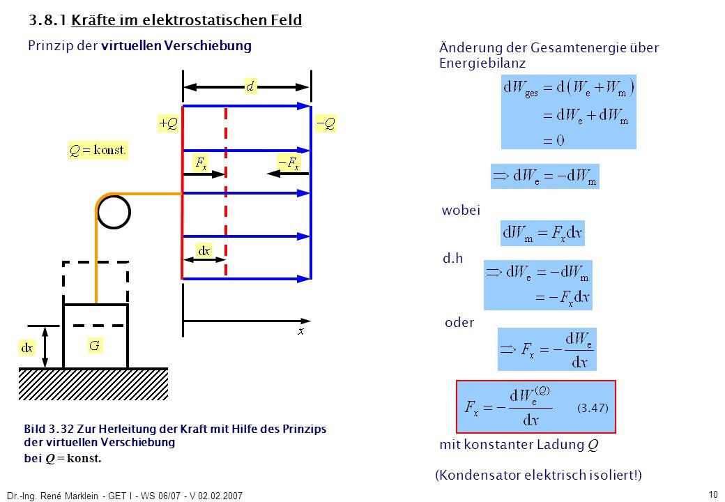 Dr.-Ing. René Marklein - GET I - WS 06/07 - V 02.02.2007 10 3.8.1 Kräfte im elektrostatischen Feld Prinzip der virtuellen Verschiebung Änderung der Ge