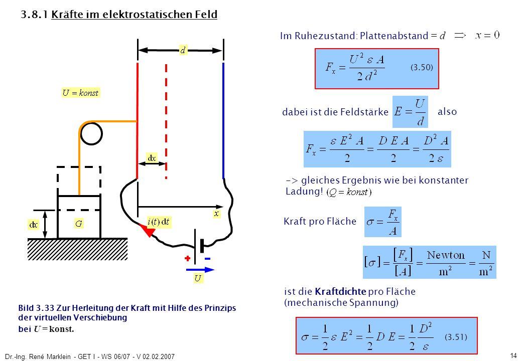 Dr.-Ing. René Marklein - GET I - WS 06/07 - V 02.02.2007 14 3.8.1 Kräfte im elektrostatischen Feld Bild 3.33 Zur Herleitung der Kraft mit Hilfe des Pr