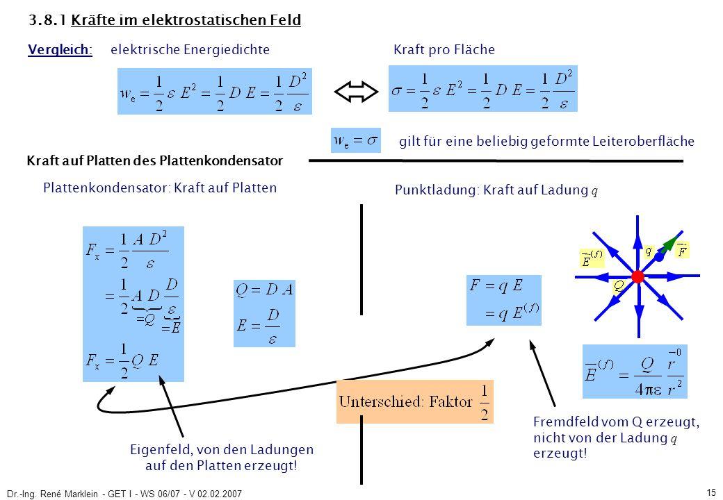 Dr.-Ing. René Marklein - GET I - WS 06/07 - V 02.02.2007 15 3.8.1 Kräfte im elektrostatischen Feld Vergleich: elektrische Energiedichte Kraft pro Fläc