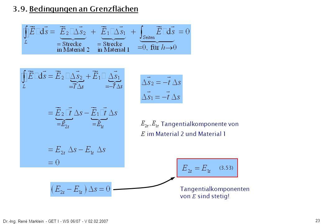 Dr.-Ing. René Marklein - GET I - WS 06/07 - V 02.02.2007 23 3.9. Bedingungen an Grenzflächen (3.53) Tangentialkomponente von E im Material 2 und Mater