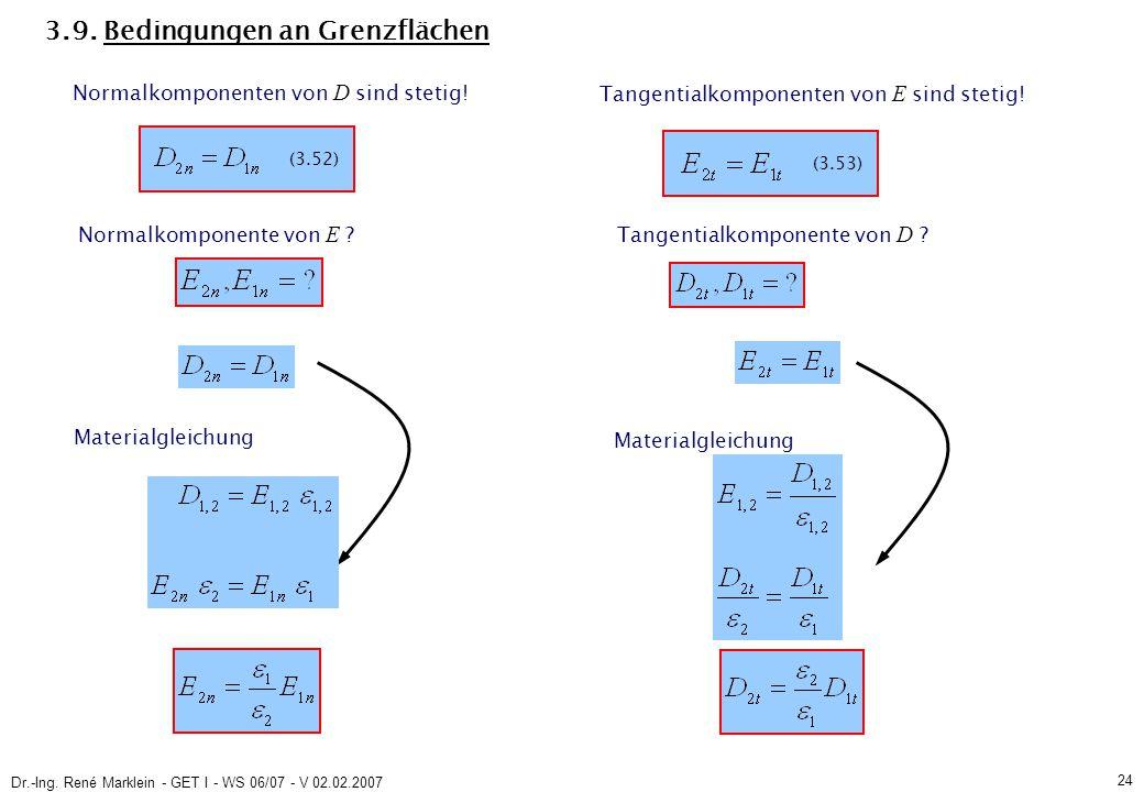 Dr.-Ing. René Marklein - GET I - WS 06/07 - V 02.02.2007 24 3.9. Bedingungen an Grenzflächen Materialgleichung Normalkomponenten von D sind stetig! Ta