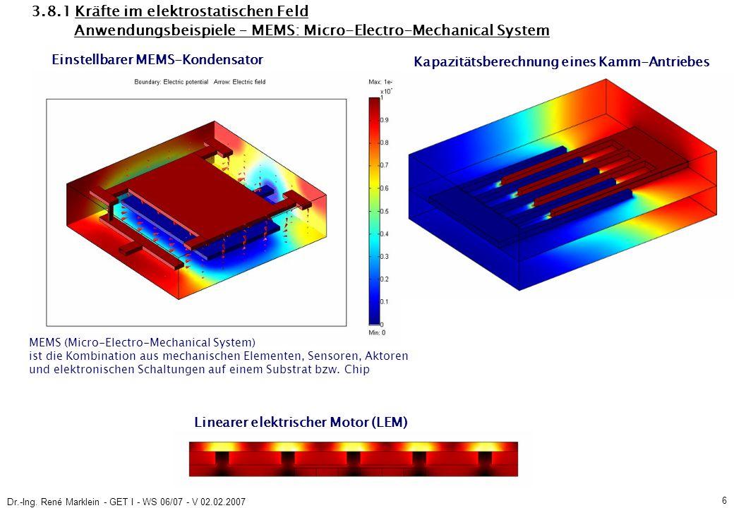 Dr.-Ing. René Marklein - GET I - WS 06/07 - V 02.02.2007 6 3.8.1 Kräfte im elektrostatischen Feld Anwendungsbeispiele – MEMS: Micro-Electro-Mechanical