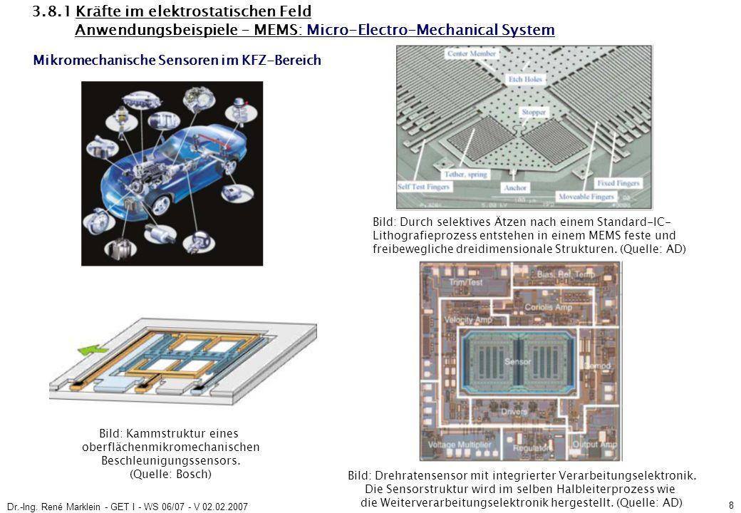 Dr.-Ing. René Marklein - GET I - WS 06/07 - V 02.02.2007 8 3.8.1 Kräfte im elektrostatischen Feld Anwendungsbeispiele – MEMS: Micro-Electro-Mechanical