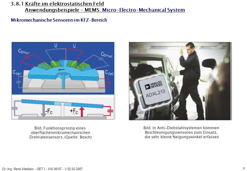 Dr.-Ing. René Marklein - GET I - WS 06/07 - V 02.02.2007 9 3.8.1 Kräfte im elektrostatischen Feld Anwendungsbeispiele – MEMS: Micro-Electro-Mechanical
