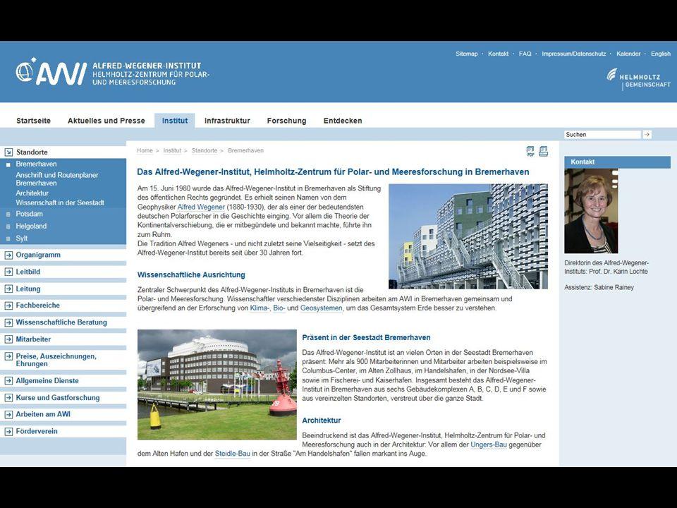 """""""Steidle-Bau Das Alfred-Wegener-Institut für Polar- und Meeresforschung (AWI) -koordiniert die Polarforschung in Deutschland -stellt wichtige Infrastruktur für internationale Wissenschaft zur Verfügung (z.B."""