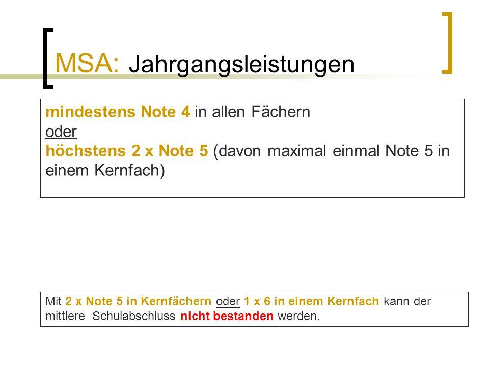 MSA: Jahrgangsleistungen mindestens Note 4 in allen Fächern oder höchstens 2 x Note 5 (davon maximal einmal Note 5 in einem Kernfach) Mit 2 x Note 5 i