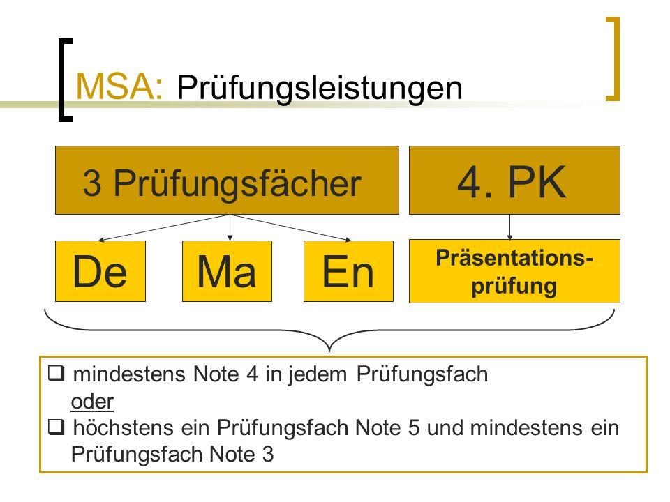 MSA: Prüfungsleistungen  mindestens Note 4 in jedem Prüfungsfach oder  höchstens ein Prüfungsfach Note 5 und mindestens ein Prüfungsfach Note 3 3 Pr