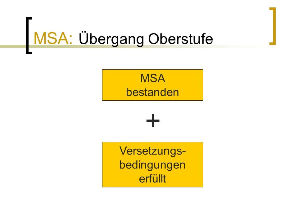 MSA: Übergang Oberstufe MSA bestanden + Versetzungs- bedingungen erfüllt