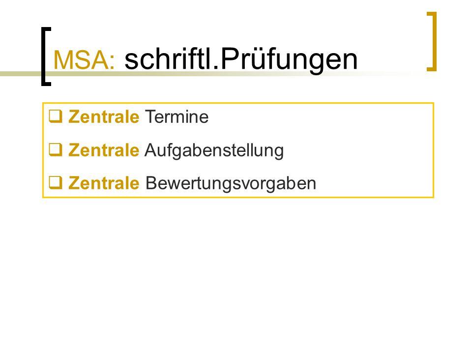 MSA: schriftl.Prüfungen  Zentrale Termine  Zentrale Aufgabenstellung  Zentrale Bewertungsvorgaben