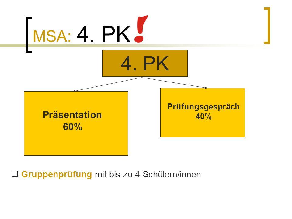 MSA: 4. PK  Gruppenprüfung mit bis zu 4 Schülern/innen 4. PK Präsentation 60% Prüfungsgespräch 40%
