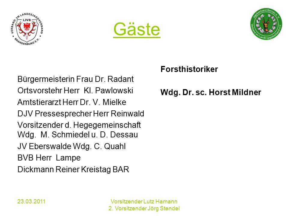 23.03.2011Vorsitzender Lutz Hamann 2. Vorsitzender Jörg Stendel Gäste Bürgermeisterin Frau Dr.