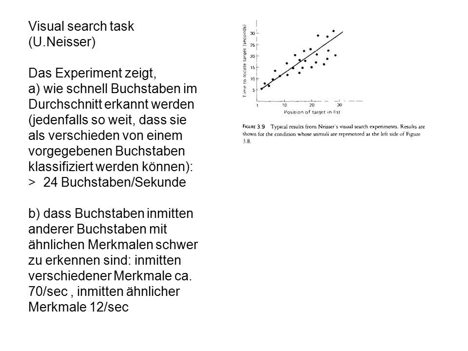 Visual search task (U.Neisser) Das Experiment zeigt, a) wie schnell Buchstaben im Durchschnitt erkannt werden (jedenfalls so weit, dass sie als versch