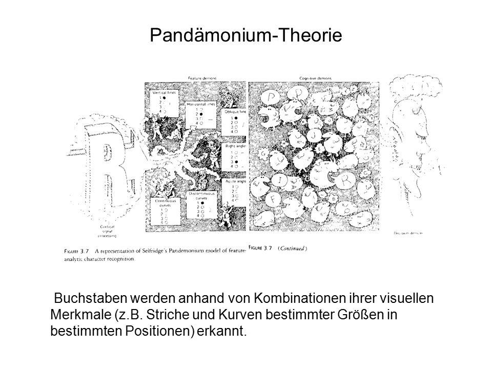 Pandämonium-Theorie Buchstaben werden anhand von Kombinationen ihrer visuellen Merkmale (z.B. Striche und Kurven bestimmter Größen in bestimmten Posit