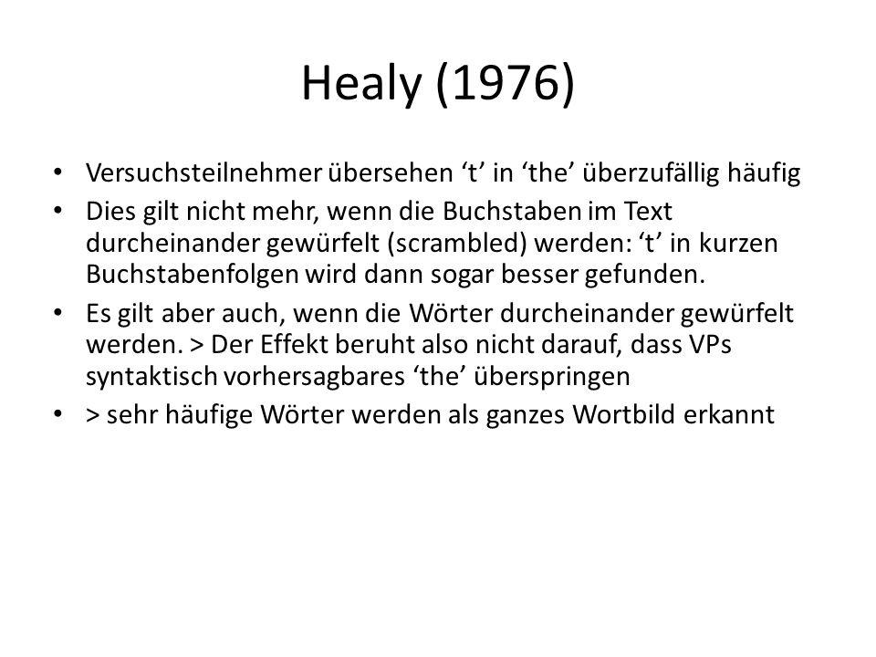 Healy (1976) Versuchsteilnehmer übersehen 't' in 'the' überzufällig häufig Dies gilt nicht mehr, wenn die Buchstaben im Text durcheinander gewürfelt (