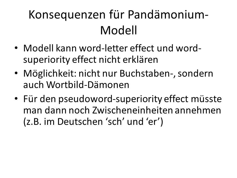 Konsequenzen für Pandämonium- Modell Modell kann word-letter effect und word- superiority effect nicht erklären Möglichkeit: nicht nur Buchstaben-, so
