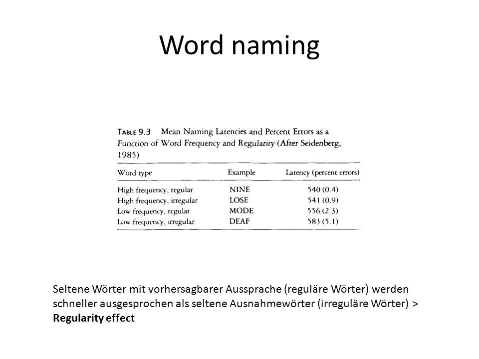 Word naming Seltene Wörter mit vorhersagbarer Aussprache (reguläre Wörter) werden schneller ausgesprochen als seltene Ausnahmewörter (irreguläre Wörte
