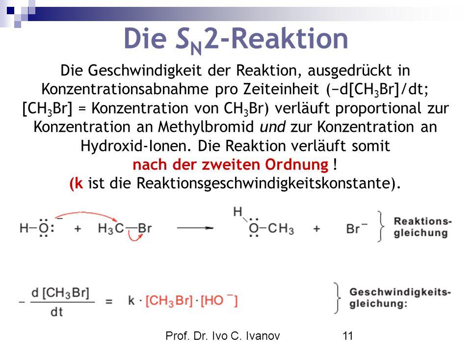 Prof. Dr. Ivo C. Ivanov11 Die S N 2-Reaktion Die Geschwindigkeit der Reaktion, ausgedrückt in Konzentrationsabnahme pro Zeiteinheit (−d[CH 3 Br]/dt; [