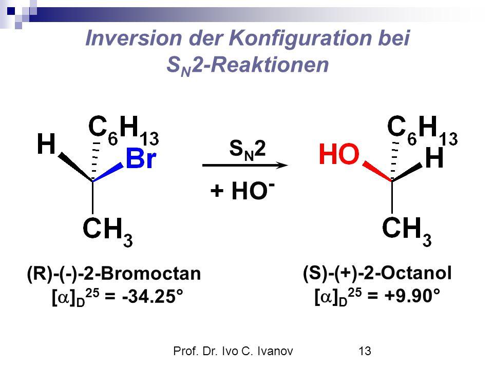 Prof. Dr. Ivo C. Ivanov13 Inversion der Konfiguration bei S N 2-Reaktionen + HO - SN2SN2 (R)-(-)-2-Bromoctan [  ] D 25 = -34.25° (S)-(+)-2-Octanol [