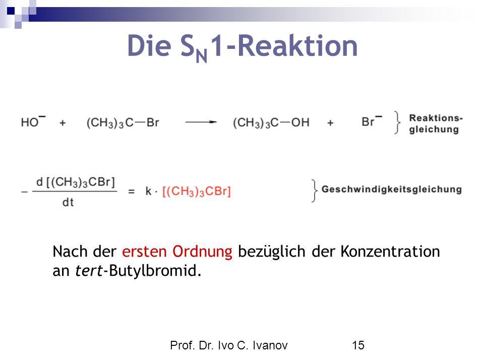Prof. Dr. Ivo C. Ivanov15 Die S N 1-Reaktion Nach der ersten Ordnung bezüglich der Konzentration an tert-Butylbromid.