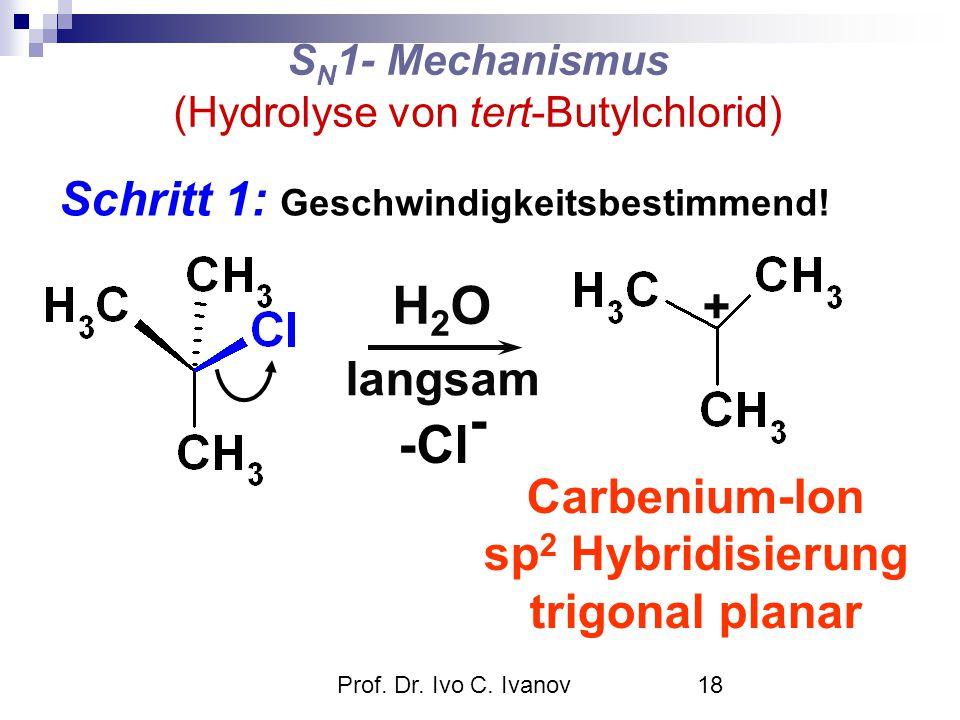 Prof. Dr. Ivo C. Ivanov18 S N 1- Mechanismus (Hydrolyse von tert-Butylchlorid) langsam Schritt 1: Geschwindigkeitsbestimmend! H2OH2O -Cl - + Carbenium