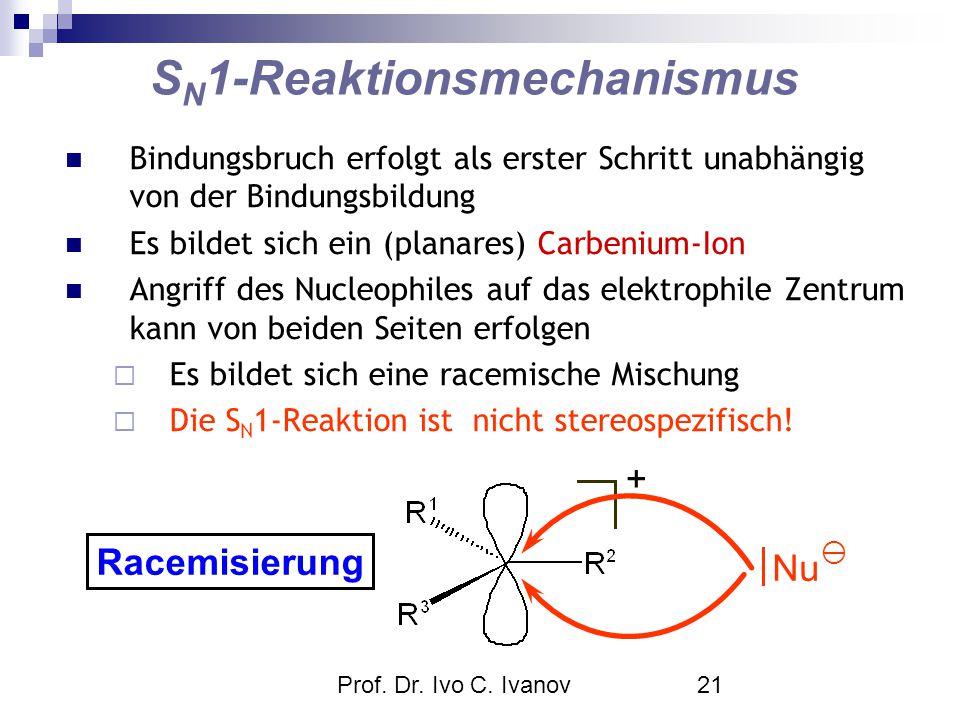 Prof. Dr. Ivo C. Ivanov21 S N 1-Reaktionsmechanismus Bindungsbruch erfolgt als erster Schritt unabhängig von der Bindungsbildung Es bildet sich ein (p