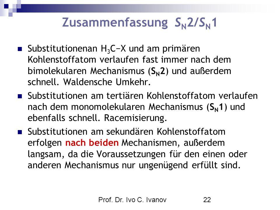 Prof. Dr. Ivo C. Ivanov22 Zusammenfassung S N 2/S N 1 Substitutionenan H 3 C−X und am primären Kohlenstoffatom verlaufen fast immer nach dem bimolekul