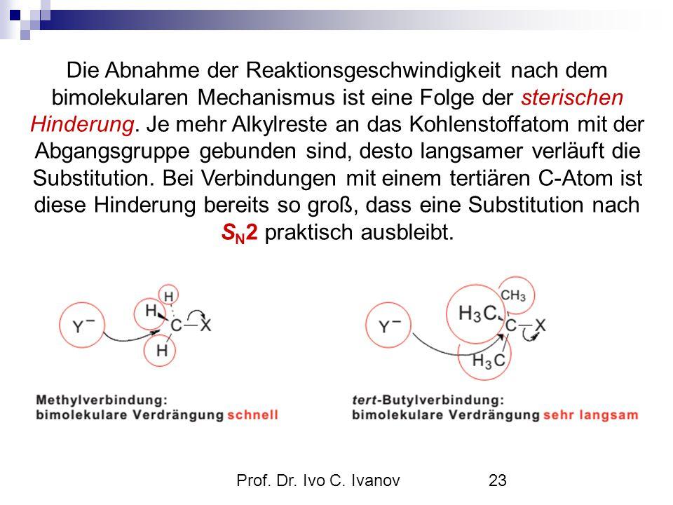 Prof. Dr. Ivo C. Ivanov23 Die Abnahme der Reaktionsgeschwindigkeit nach dem bimolekularen Mechanismus ist eine Folge der sterischen Hinderung. Je mehr