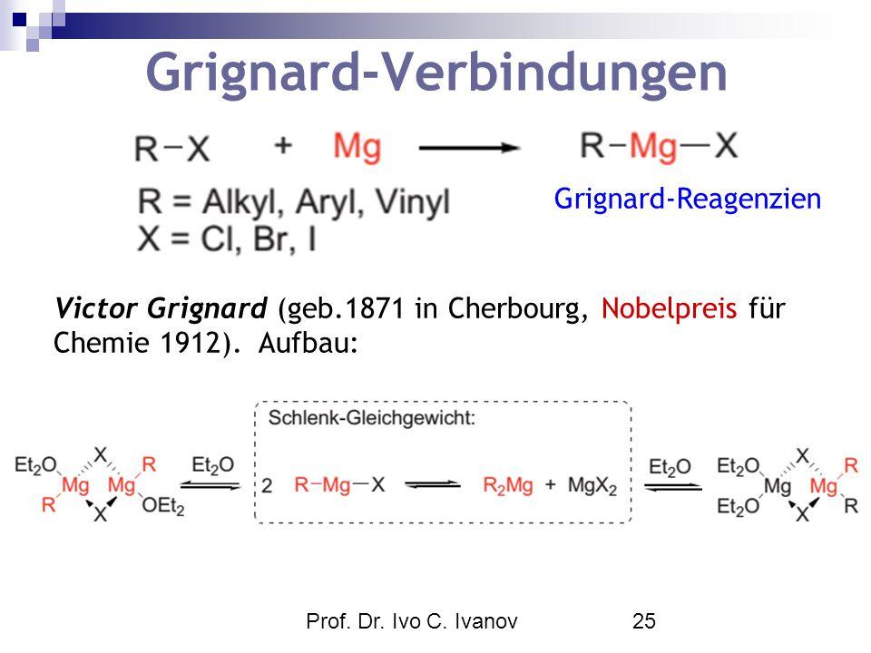 Prof. Dr. Ivo C. Ivanov25 Grignard-Verbindungen Victor Grignard (geb.1871 in Cherbourg, Nobelpreis für Chemie 1912). Aufbau: Grignard-Reagenzien