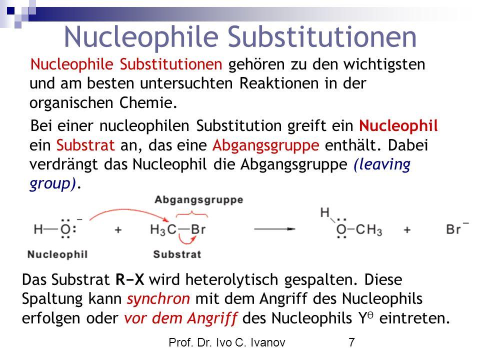 Prof. Dr. Ivo C. Ivanov7 Nucleophile Substitutionen Nucleophile Substitutionen gehören zu den wichtigsten und am besten untersuchten Reaktionen in der
