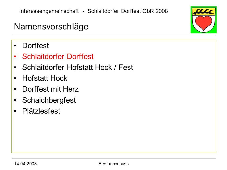 Interessengemeinschaft - Schlaitdorfer Dorffest GbR 2008 14.04.2008Festausschuss Namensvorschläge Dorffest Schlaitdorfer Dorffest Schlaitdorfer Hofsta