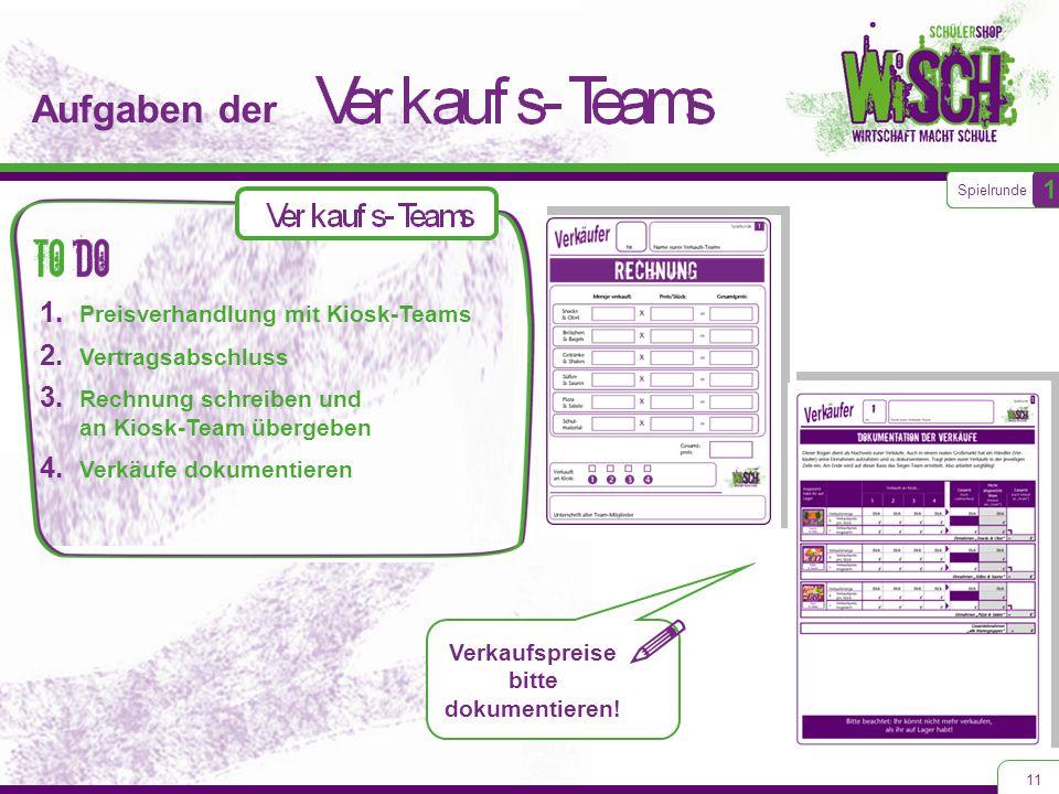 Aufgaben der 11 1. Preisverhandlung mit Kiosk-Teams 2. Vertragsabschluss 3. Rechnung schreiben und an Kiosk-Team übergeben 4. Verkäufe dokumentieren S