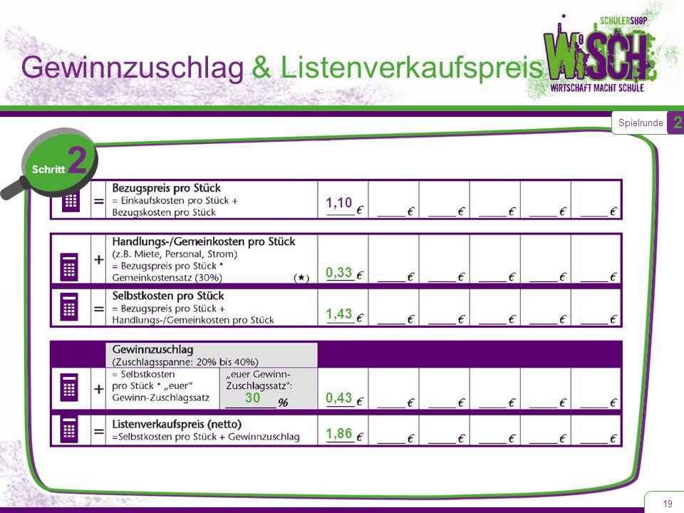 19 Spielrunde 2 Schritt 2 1,43 0,33 1,86 0,43 1,10 30 Gewinnzuschlag & Listenverkaufspreis