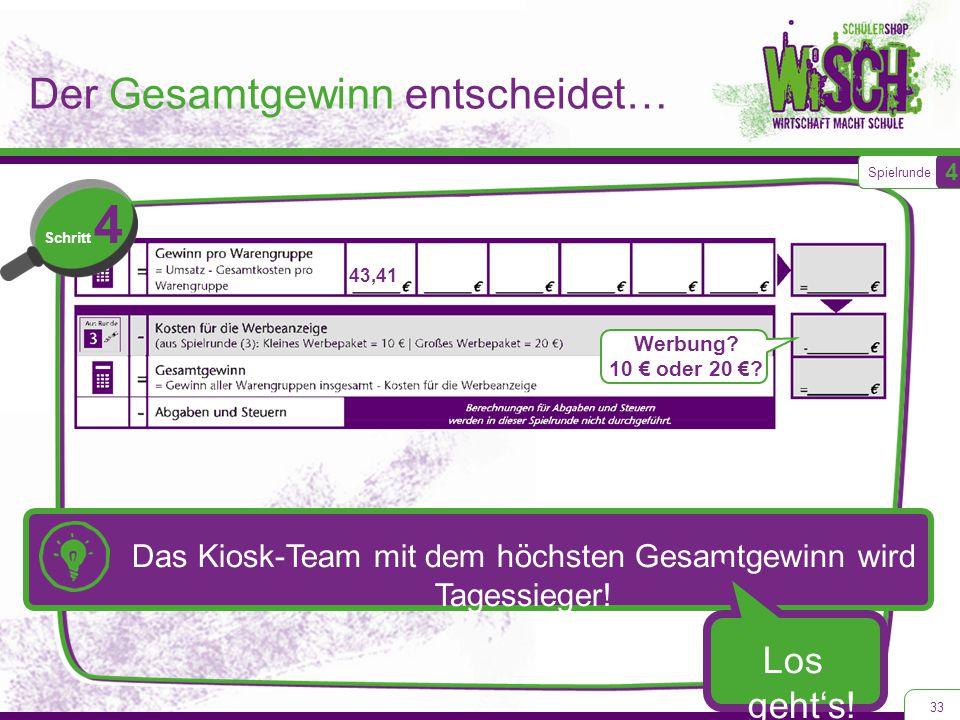 Der Gesamtgewinn entscheidet… 33 Spielrunde 4 Schritt 4 43,41 Werbung? 10 € oder 20 €? Das Kiosk-Team mit dem höchsten Gesamtgewinn wird Tagessieger!