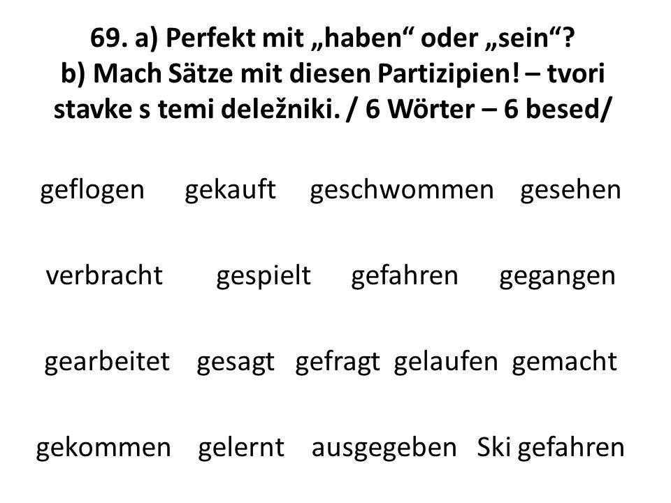 """69. a) Perfekt mit """"haben"""" oder """"sein""""? b) Mach Sätze mit diesen Partizipien! – tvori stavke s temi deležniki. / 6 Wörter – 6 besed/ geflogen gekauft"""