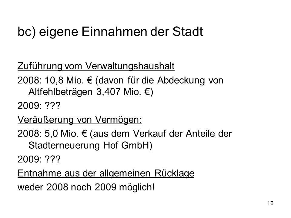 16 bc) eigene Einnahmen der Stadt Zuführung vom Verwaltungshaushalt 2008: 10,8 Mio.