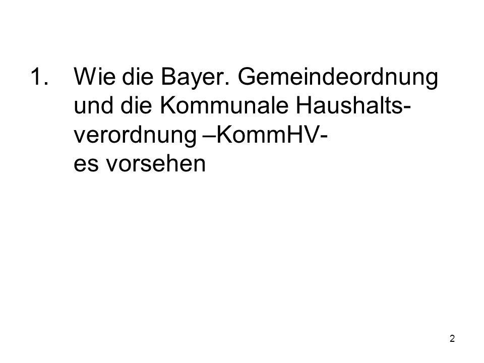 2 1.Wie die Bayer. Gemeindeordnung und die Kommunale Haushalts- verordnung –KommHV- es vorsehen