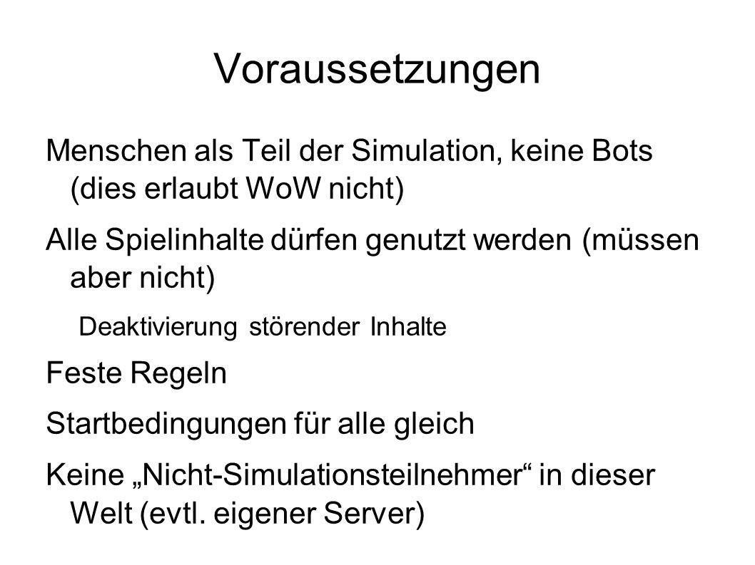 """Voraussetzungen Menschen als Teil der Simulation, keine Bots (dies erlaubt WoW nicht) Alle Spielinhalte dürfen genutzt werden (müssen aber nicht) Deaktivierung störender Inhalte Feste Regeln Startbedingungen für alle gleich Keine """"Nicht-Simulationsteilnehmer in dieser Welt (evtl."""