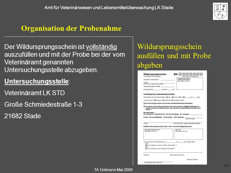 TA Golmann Mai 2009 Amt für Veterinärwesen und Lebensmittelüberwachung LK Stade 10 Organisation der Probenahme Wildursprungsschein ausfüllen und mit P